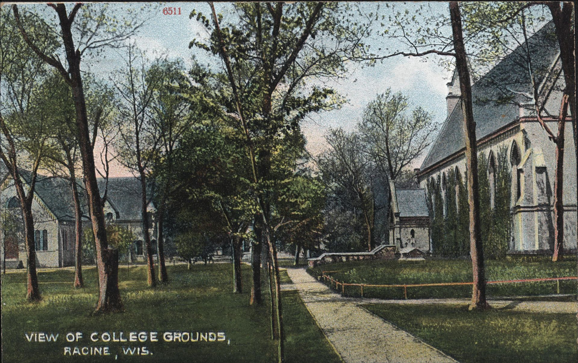 Racine College circa 1910. The Chapel is on the right.
