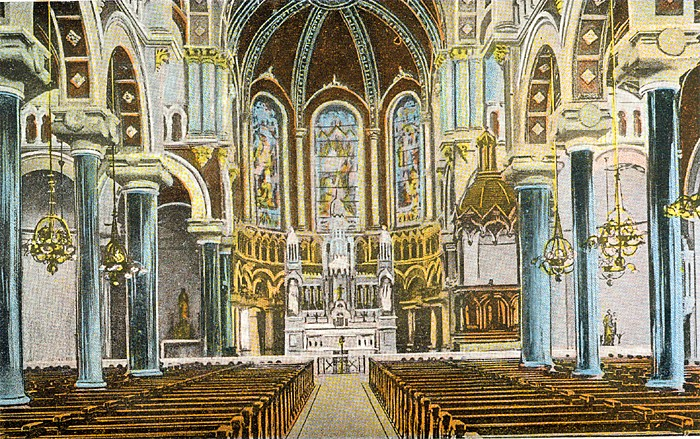 Sacred Heart interior as seen in 1900 postcard