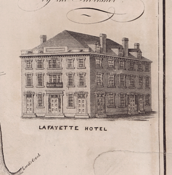 Rendering of the original Lafayette Hotel from the 1825 map.