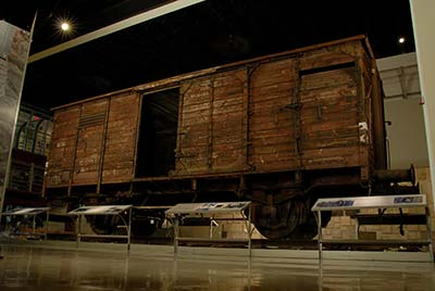 One of the only camp boxcars left, on display at the museum