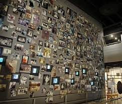 A portion of the thousands of photos of the Holocaust's victims displayed in memorial at the museum.