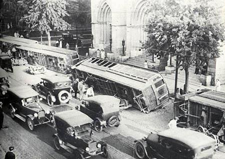 This photo shows the Cathedral of the Immaculate Conception in the background of the 192 Denver Tramway strike. To learn more about the strike, search for the Clio entry on the Tramway Building.