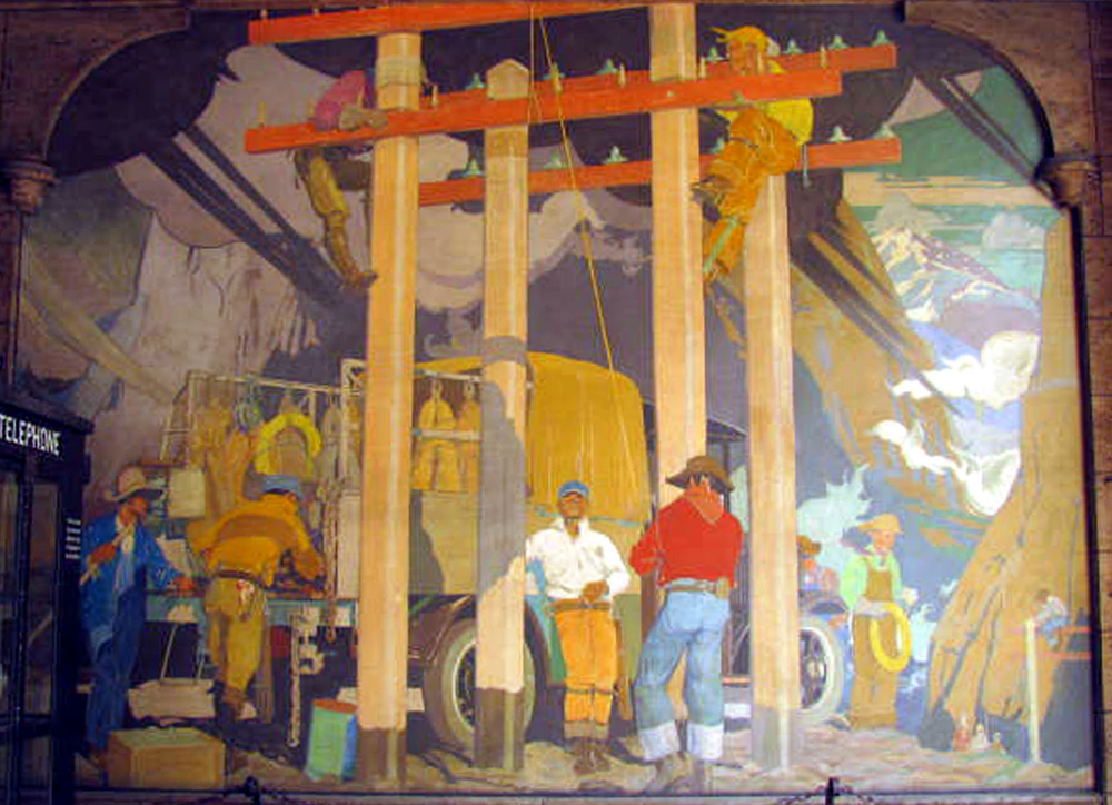A mural by Alan Tupper True in the Telephone and Telegraph Building lobby (image from the Colorado Encyclopedia)