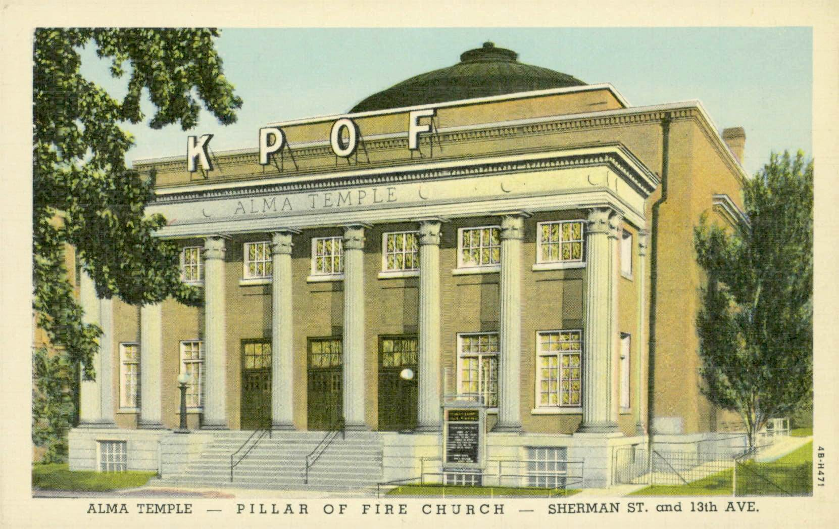 Vintage postcard depicting the Alma Temple/KPOF Hall, at 1340 Sherman Street, Denver, Colorado