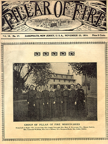 Pillar of Fire publication from 1914 depicting a group of female missionaries.