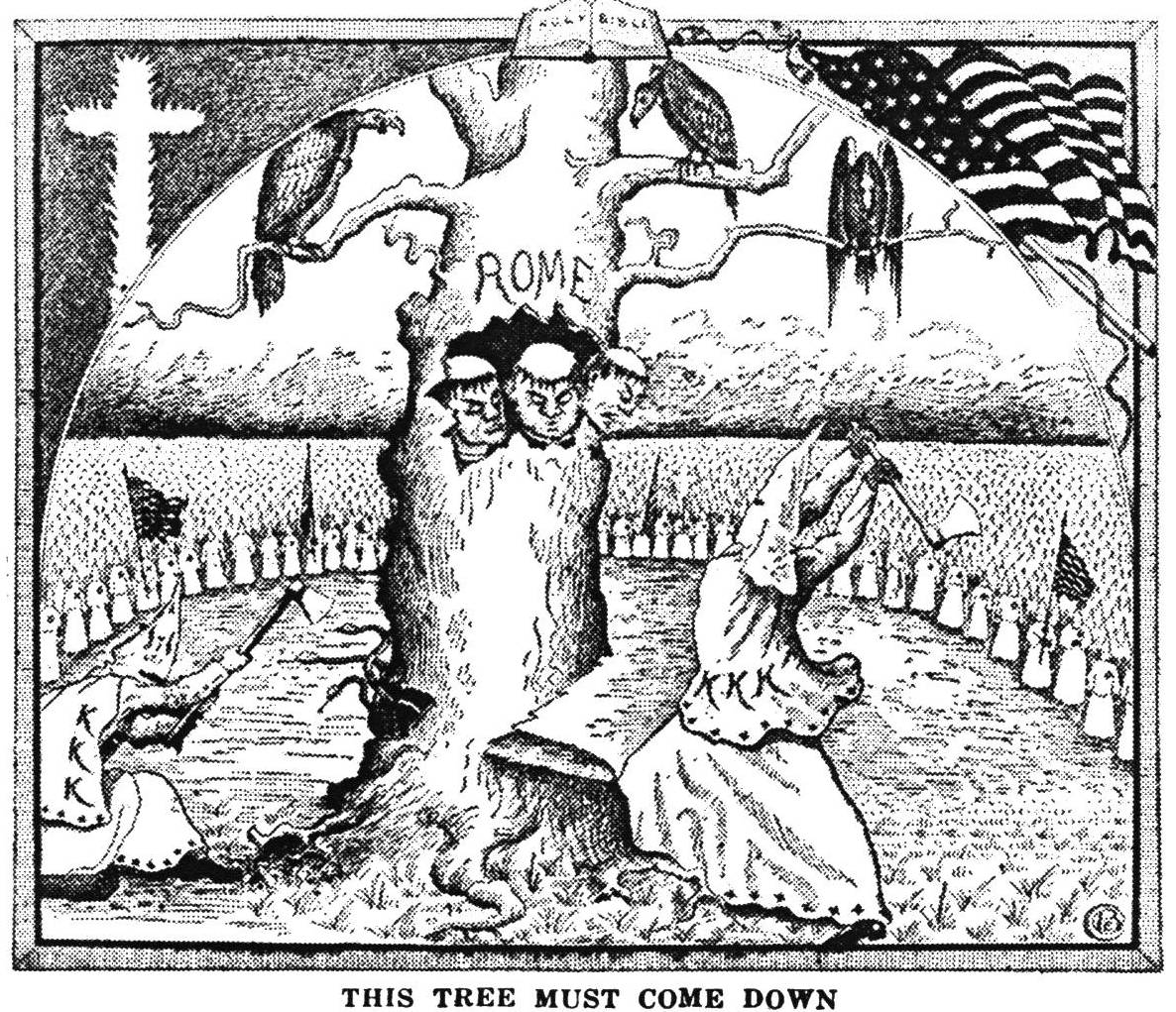 Cartoon illustrating The Ku Klux Klan in Prophecy, published by the Pillar of Fire in 1925.