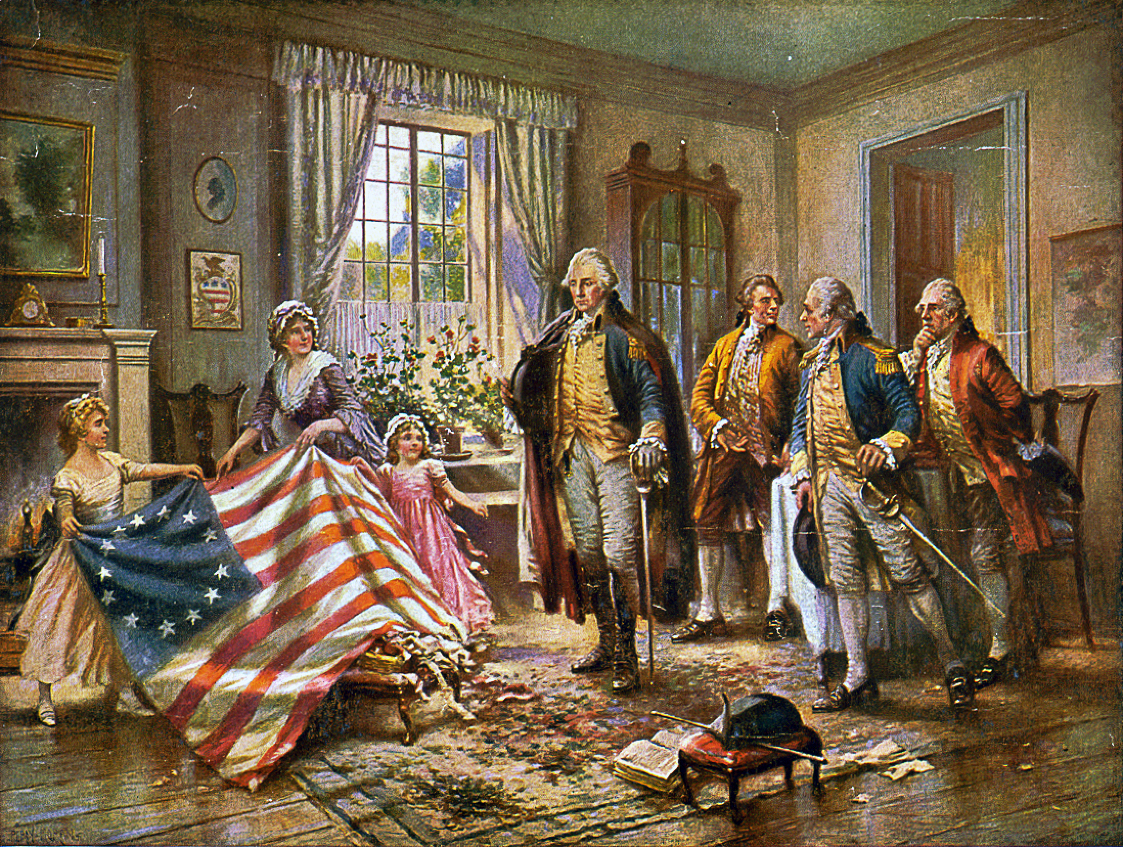 "This image depicts what is presumed to be Betsy Ross and two children presenting the ""Betsy Ross flag"" to George Washington. The image is a version of a painting entitled ""The Birth of Old Glory"" by Percy Moran cir 1917 (Library of Congress)"