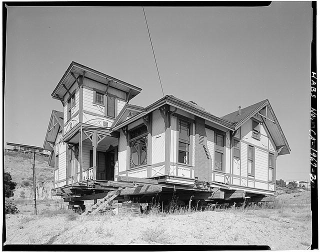 The Sherman-Gilbert House circa 1969 after it was moved to its new location after being saved from demolition. Notice it is still on lifts while waiting for new foundation to be built. Photo courtesy of the Library of Congress.