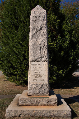 This monument to former Georgia governor, US Senator, and Ambassador to France William H. Crawford was dedicated in 1929 by the Daughters of the American Revolution.