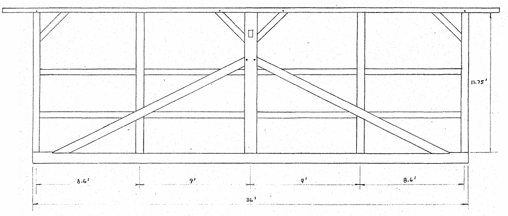 Architectural sketch of a kingpost truss in the bridge