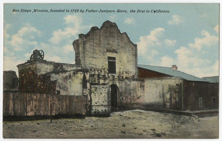 A color postcard from 1915 illustrates the dire need for preservation and restoration at the Mission (UC San Diego).