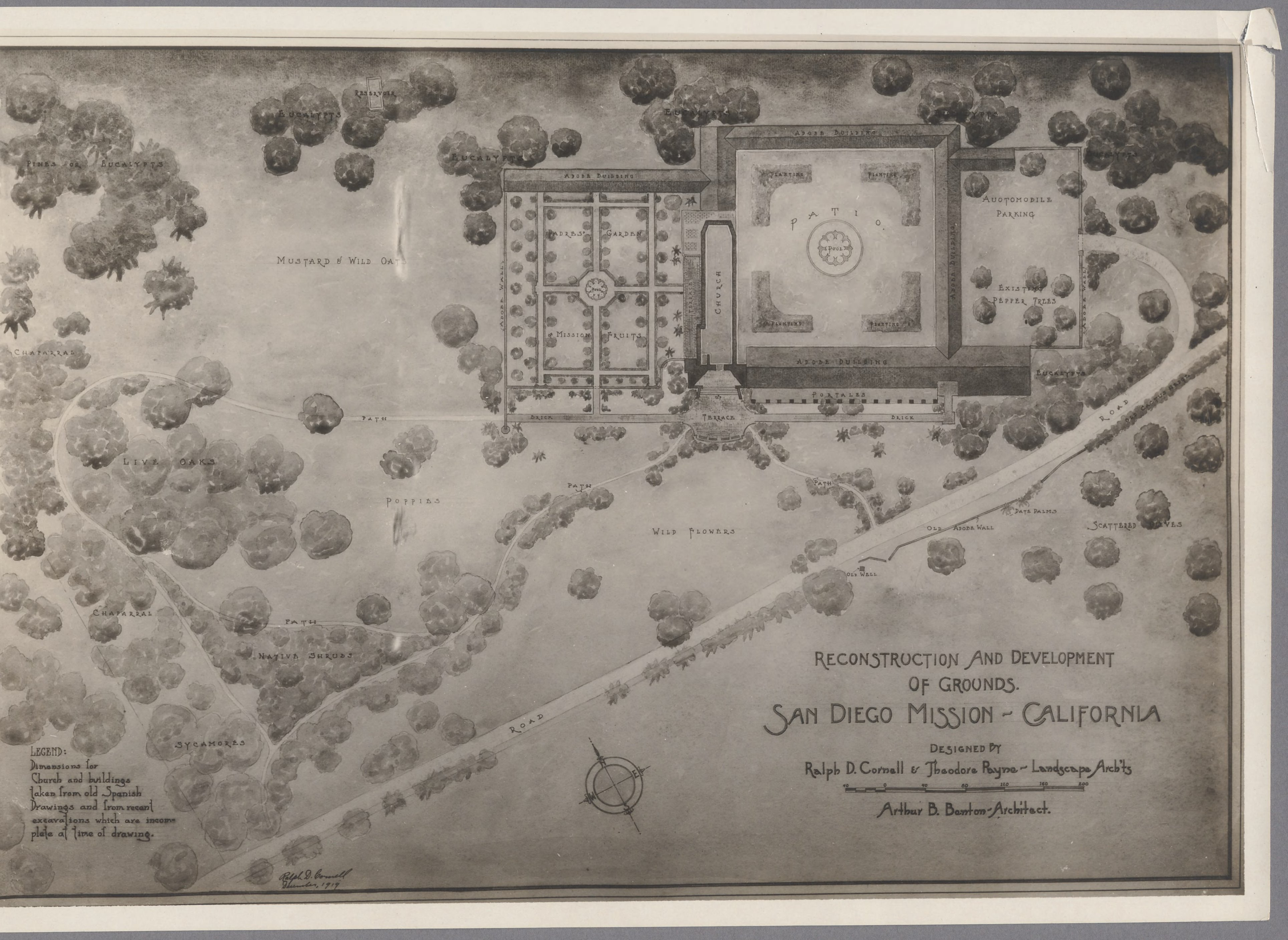 A proposed plan for reconstruction of the Mission and grounds, circa 1919 (UCLA).