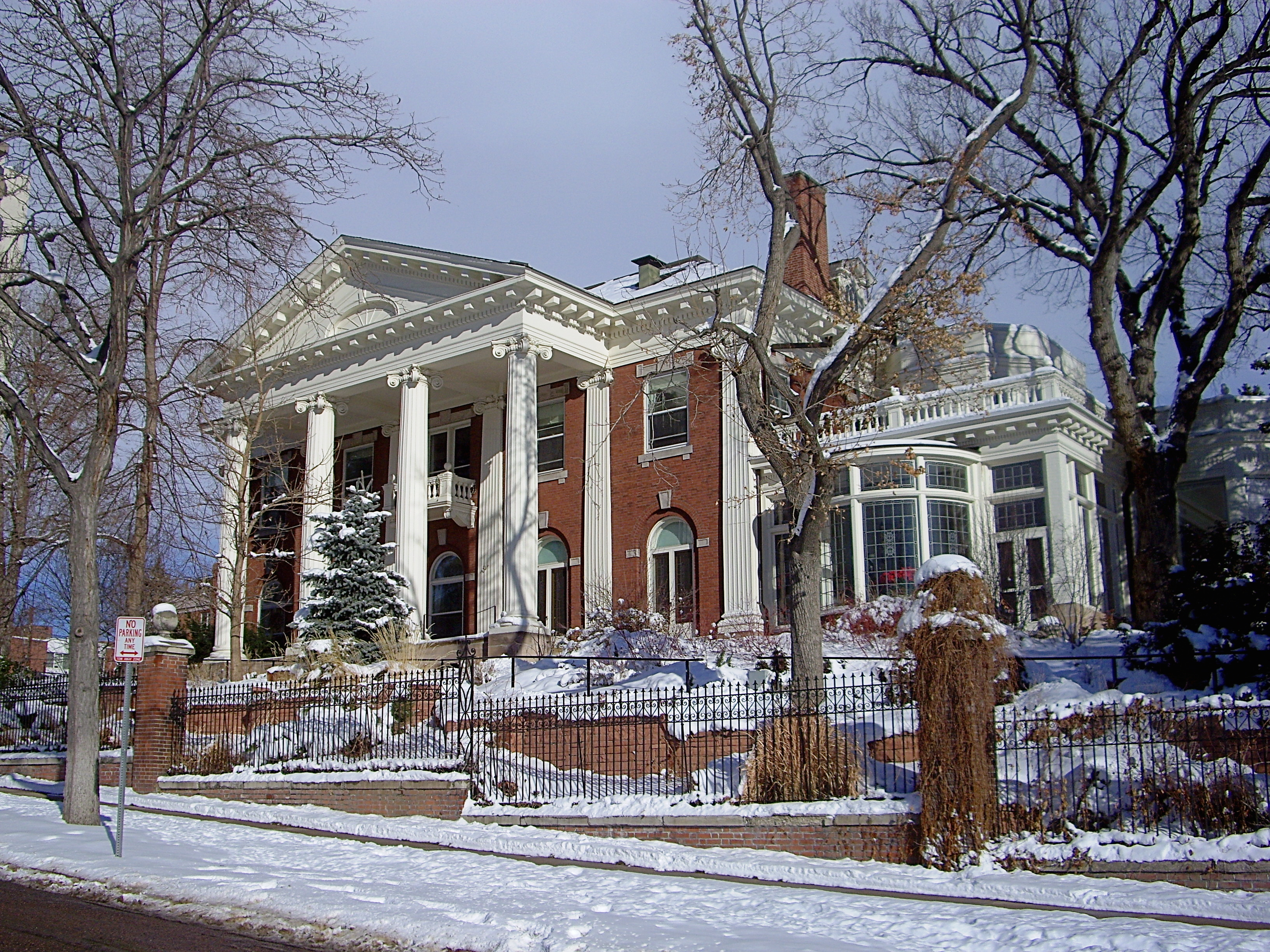 The Colorado Governor's Mansion seen in the winter.