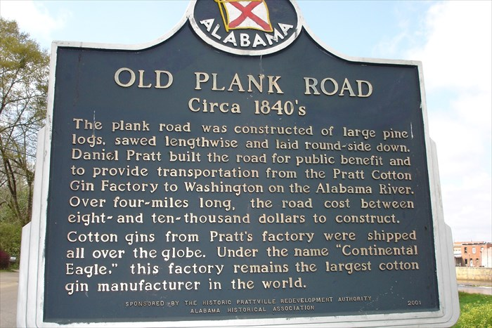 Roadside Historical Marker featuring the Old Plank Road