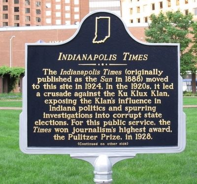Indianapolis Times Historic Marker - Side 1 (image from Historical Marker Database)