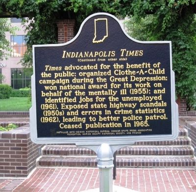 Indianapolis Times Historic Marker - Side 2 (image from Historical Marker Database)
