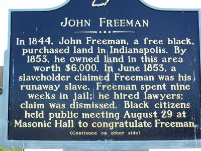 John Freeman Historic Marker - Side 1 (image from Historical Marker Database)