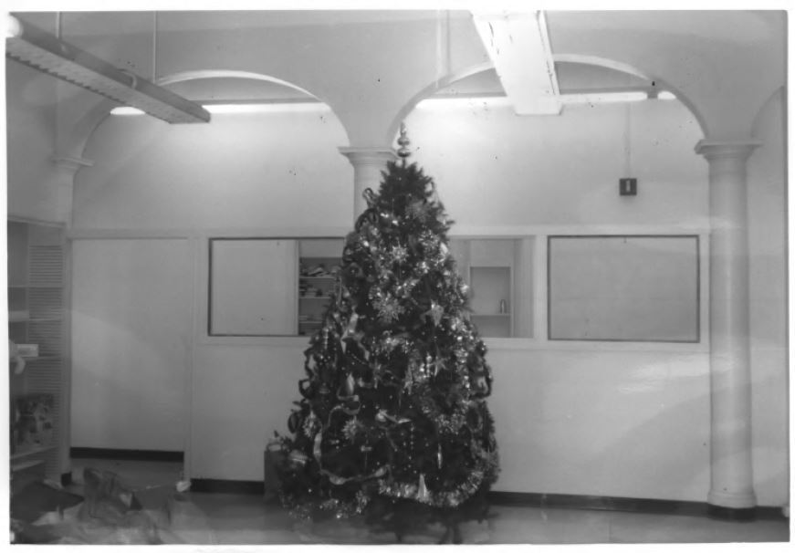 The Hawthorne Branch, empty yet decorated for Christmas (image from the National Register of Historic Places)