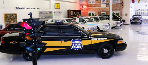 Police cars from all eras at the museum (image from the City of Indianapolis)