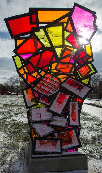 Looking Through Windows sculpture by Michael Kuschnir (image from Herron School of Art and Design)