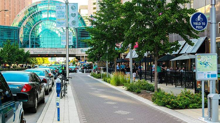 Downtown Indianapolis along the trail (image from WFYI.org)