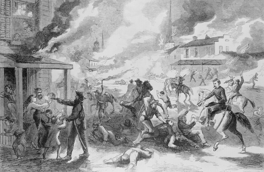 Quantrill's Raid into Lawrence, Kansas, following the prison collapse in Kansas City, MO