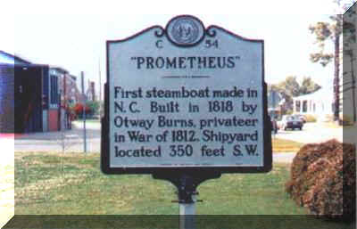 This is the marker of the Prometheus. A historical marker that represents one of the many accomplishments to arise from this town pf Swansboro. Built by the native son Otway Burns Jr., it sailed the White Oak River ranging from Wilmington to Southpor