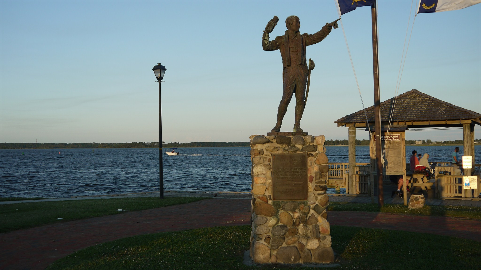 Here lies the statue, at the heart of Bicentennial Park, of Otway Burns Jr.. It was built specifically facing the water to allow Burns to watch over the very water that his life revolved around. Famous privateer and naval hero that lies at the heart