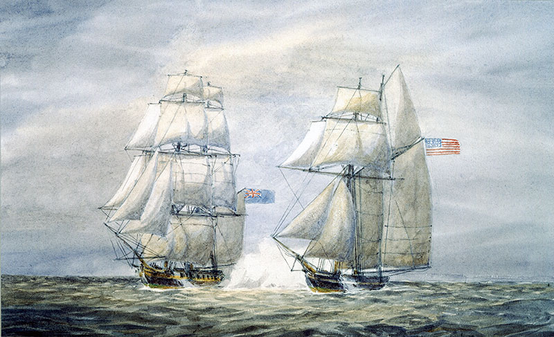 This picture is a modeled photo of Burns's battle vessel, The SnapDragon. With this vessel, Burns and Pasteur sailed along the coasts of the eastern United States duing the early 1800s capturing and damaging British merchant ships. These battles are