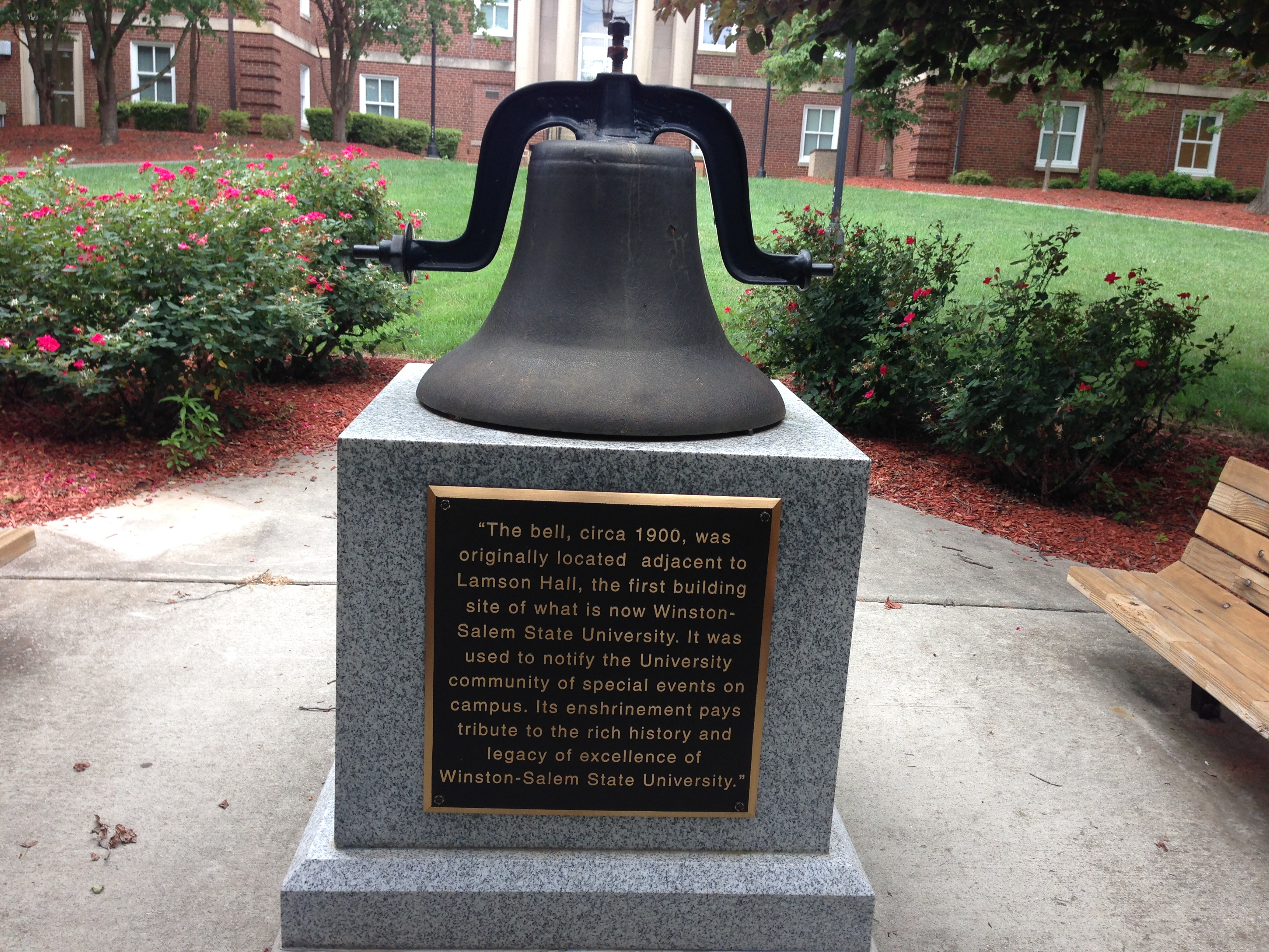 This bell was first used to call students of the Slater Industrial and State Normal School to important events.  It is now located on the campus of Winston-Salem State University.