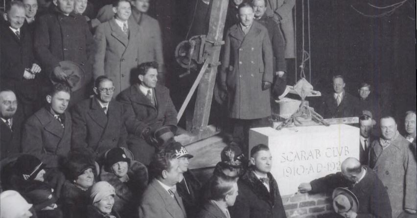 Laying the cornerstone for the new clubhouse, completed in 1928