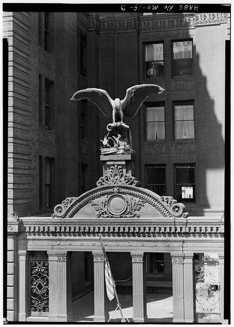 Sculpture over the south front doorway. Credit to the Library of Congress Prints and Photographs Division.