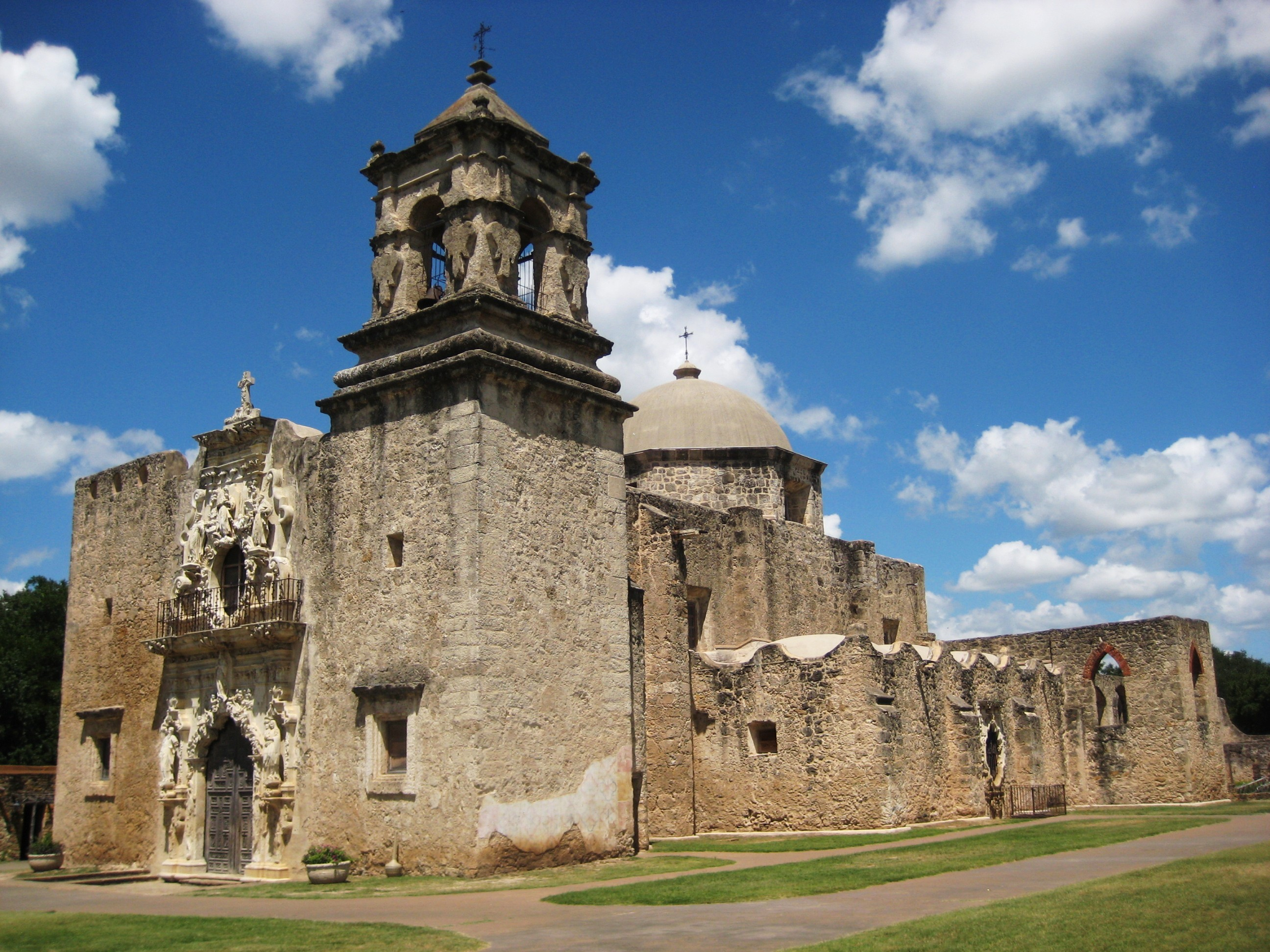 """The church of Mission San José is the largest of the missions and is referred to as the """"Queen of the Missions."""""""
