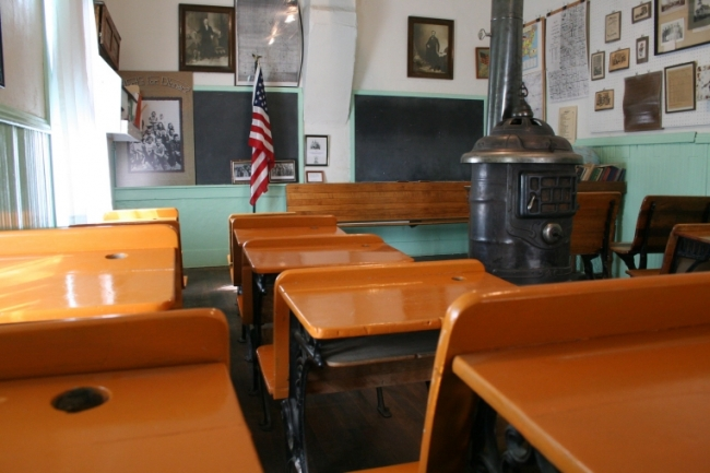 The interior of the one-room schoolhouse