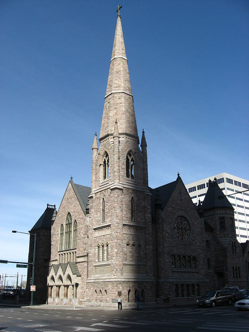 Trinity United Methodist Church, completed in 1888, stands at the corner of 18th Avenue and Broadway.