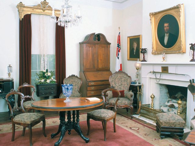 "This parlor is where Jefferson Davis decided he must end the war on May 2, 1865. After listening to his council, he reportedly declared ""All is indeed lost."""