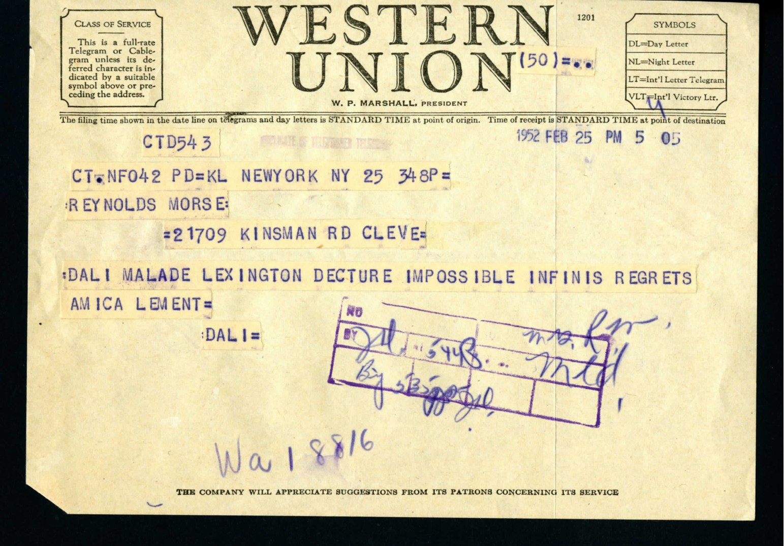 Archival evidence of Salvador Dali's telegram he sent to Mr. and Mrs. Morse .    Credit: Collection of The Dalí Museum Library & Archive, St.     Petersburg, Florida.
