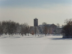 South High's clock tower rises above the southern end of Washington Park, seen here under fresh snow. Photo by Jimmy Thomas. Licensed under Creative Commons. https://creativecommons.org/licenses/by-nd/2.0/legalcode