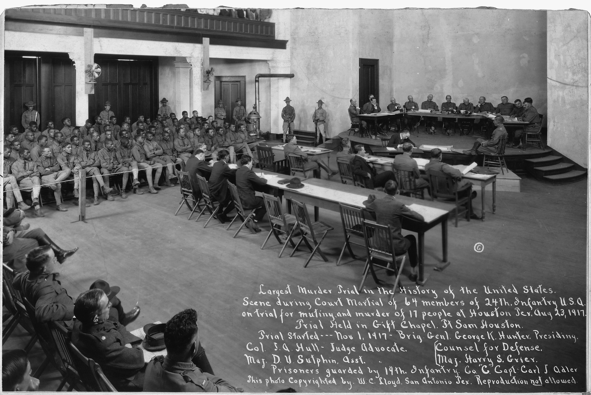 Photo of the court-martial trial. Men of the battalion are located on the left side.