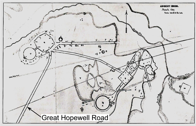 Salisbury map from 1862 showing the Newark Earthworks, including the Great Hopewell Road.
