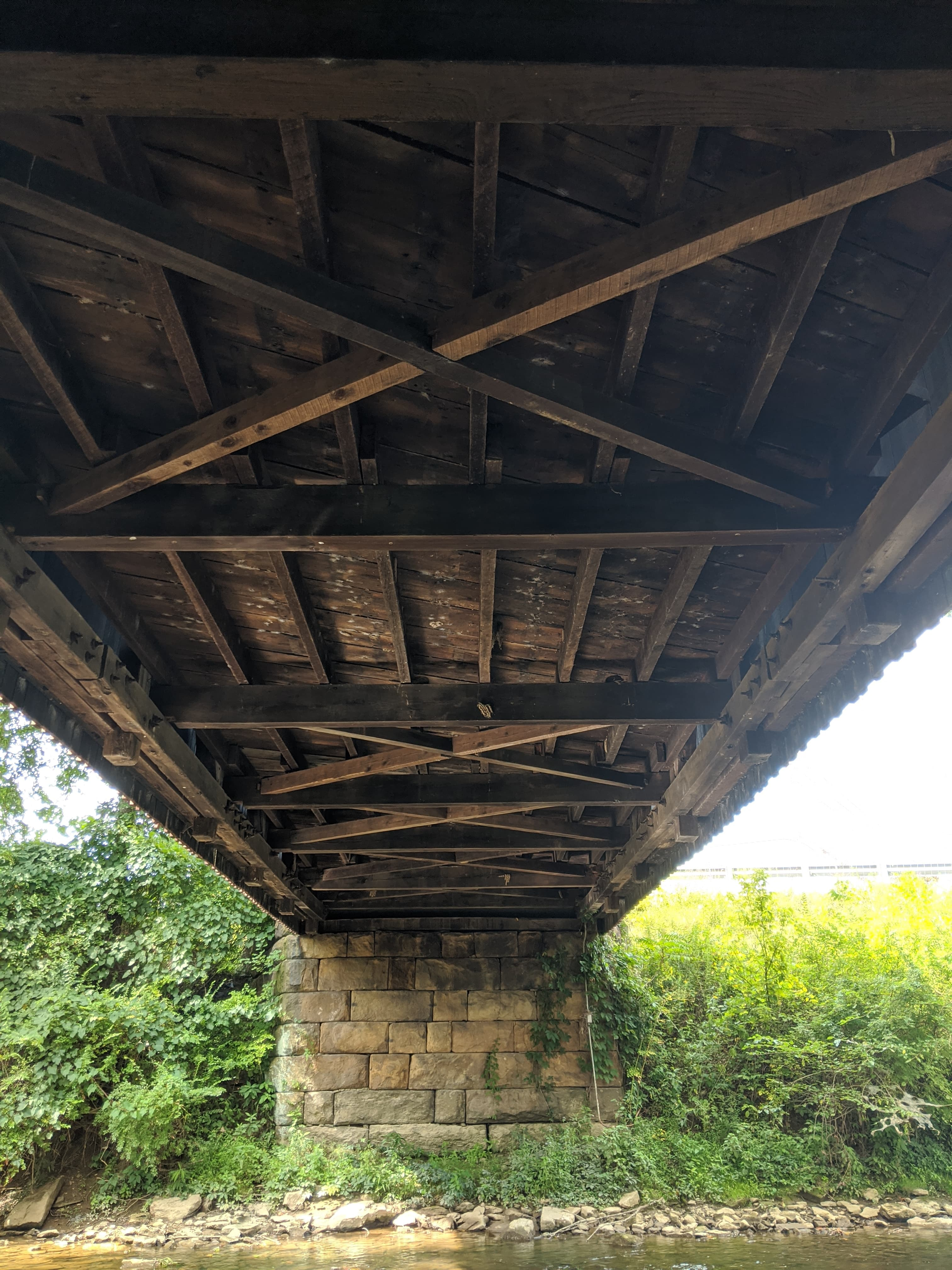 Underside view of the bridge. Note the lack of supporting arches