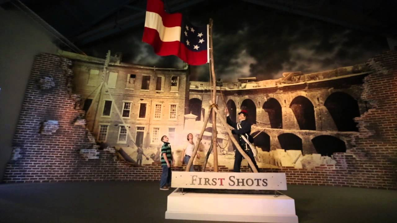 "The museum's ""First Shots"" exhibit with Fort Sumter in the background."