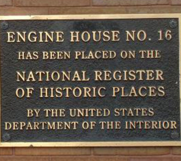 Plaque indicating Fire Engine House No. 16 is on the National Register of Historic Places