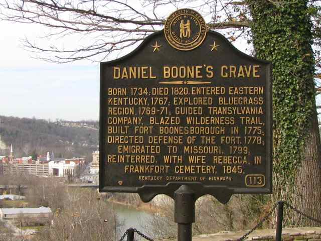 A historical marker at the Daniel Boone gravesite in Frankfort, Kentucky.