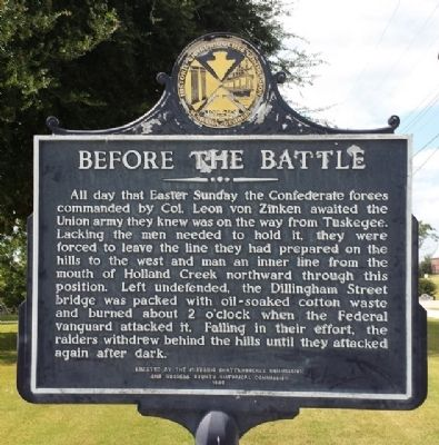 Battle of Girard Marker. The backside of the marker, shown here, discusses events leading up to one of the last battles of the Civil War.