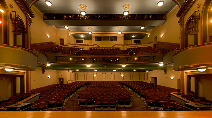 The interior of the restored theater from the perspective of the stage.