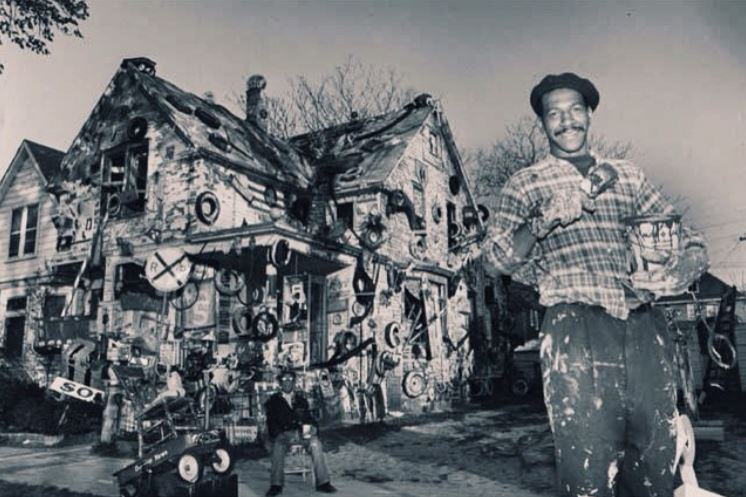 Tyree Guyton and his grandfather in the early days of the Heidelberg Project