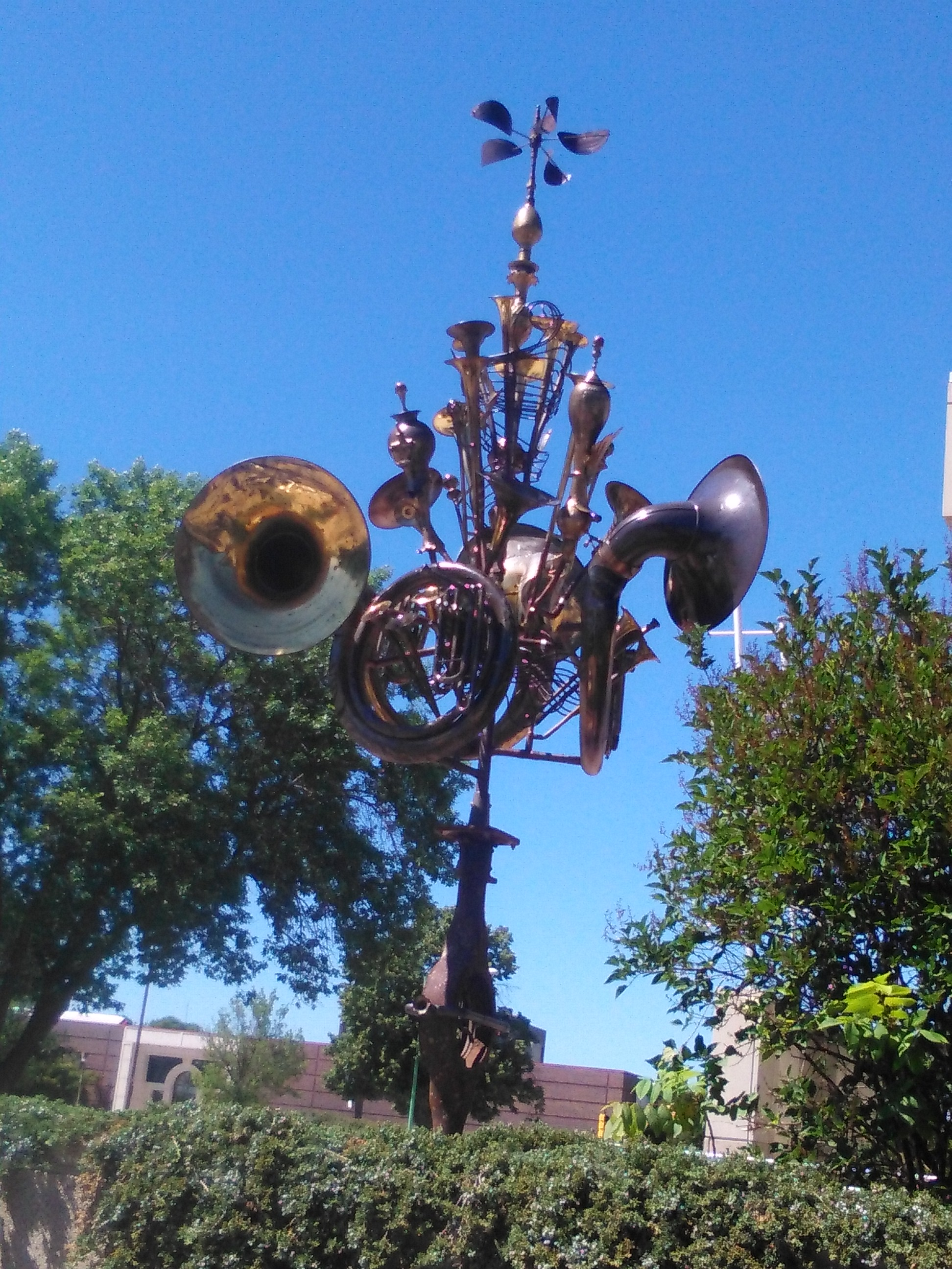 "The trombones outside of Music Man Square that represents the song ""76 Trombones."""