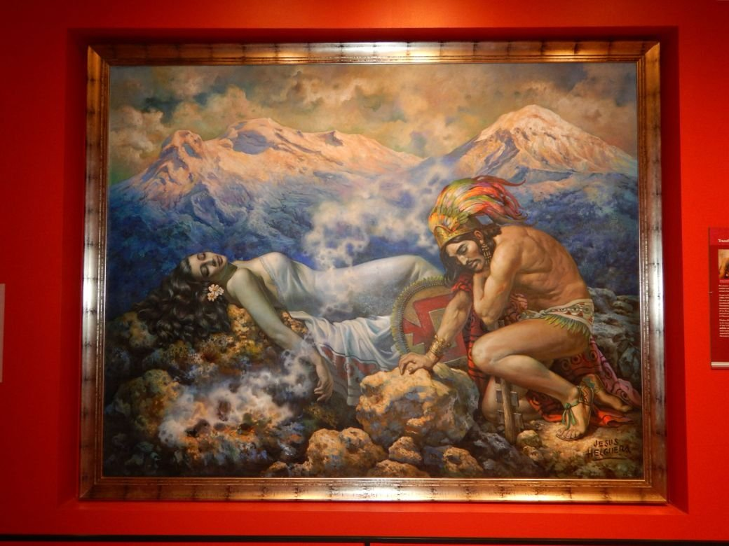 Jesús Helguera's 1940 painting La Leyenda de los Volcanes, featured in the Pre-Cuauhtémoc section of the museum's permanent collection