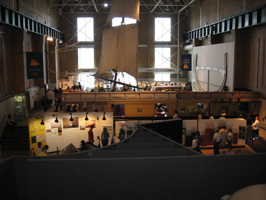 An overhead photo of the display space within the museum.